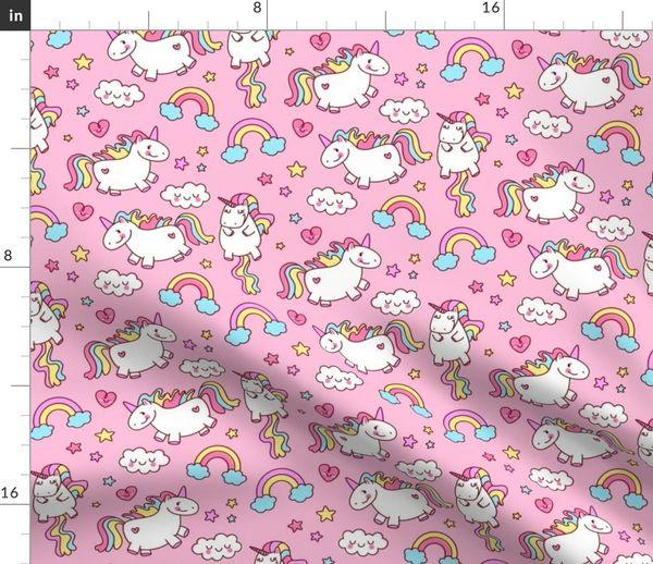 Fabric by the Yard Fat Unicorn Pink // Girls Cute Bedroom Decor Nursery