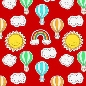 Rainbows and Happy Clouds Red