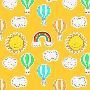 Rainbows and Happy Clouds Orange