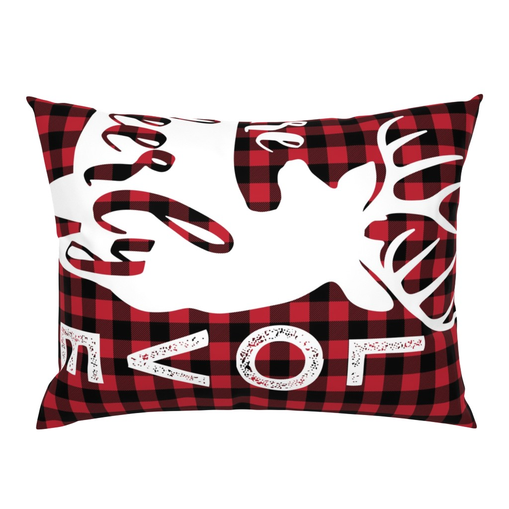 Campine Pillow Sham featuring MINKY layout - You are so deerly loved - buffalo plaid by littlearrowdesign