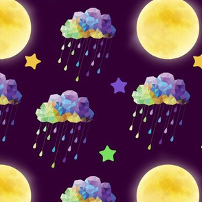 Acid Clouds with Moon Dark Purple