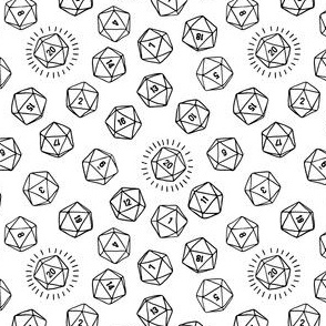 Tossed d20 in Black Outlines on White