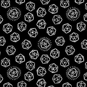 Tossed d20 in White Outlines on Black