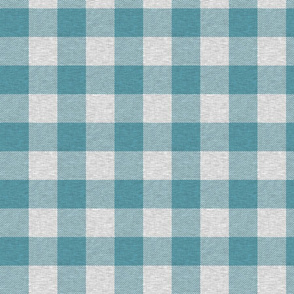 "1.75"" Teal And Light Grey Textured Buffalo Plaid"