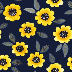 Simple Floral - yellow/navy