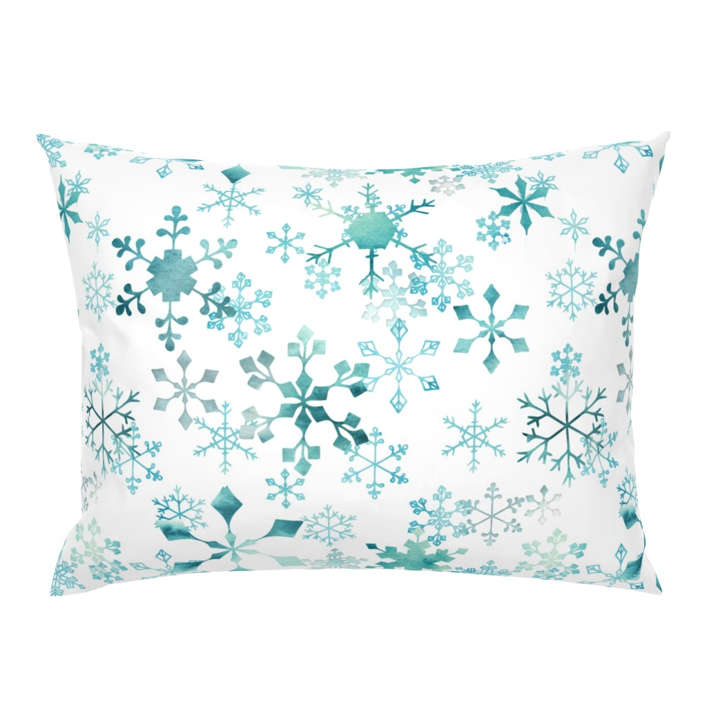 Campine Pillow Sham featuring Snowflake Crystals on White by adenaj