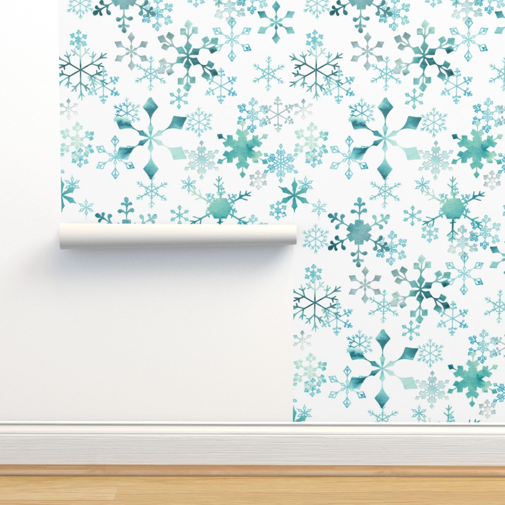 Isobar Durable Wallpaper featuring Snowflake Crystals on White by adenaj