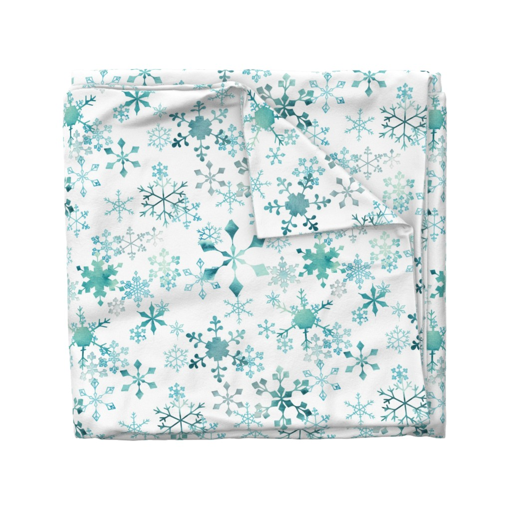 Wyandotte Duvet Cover featuring Snowflake Crystals on White by adenaj