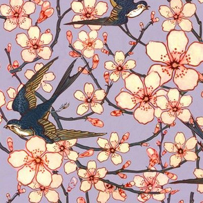 Almond blossoms and swallows floral
