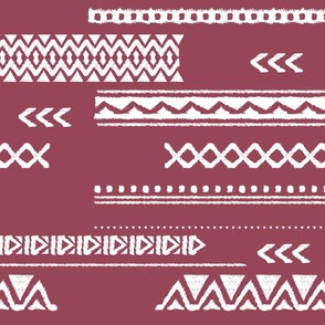 Modern aztec ethnic tribal patchwork indian summer abstract fabric maroon Large