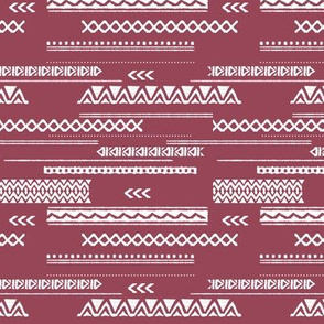 Modern aztec ethnic tribal patchwork indian summer abstract fabric maroon SMALL