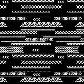 Modern aztec ethnic tribal patchwork indian summer abstract fabric monochrome black and white Small