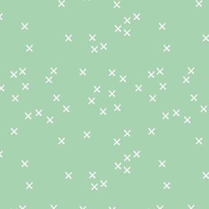 Basic geometric raw brush crosses pattern mint SMALL