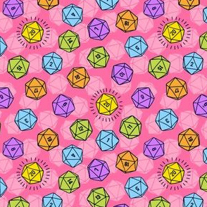 Tossed d20 in Bright Colors