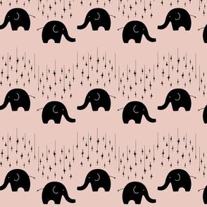 Black elephants and stars on pink