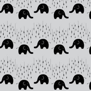 Elephants and stars on grey