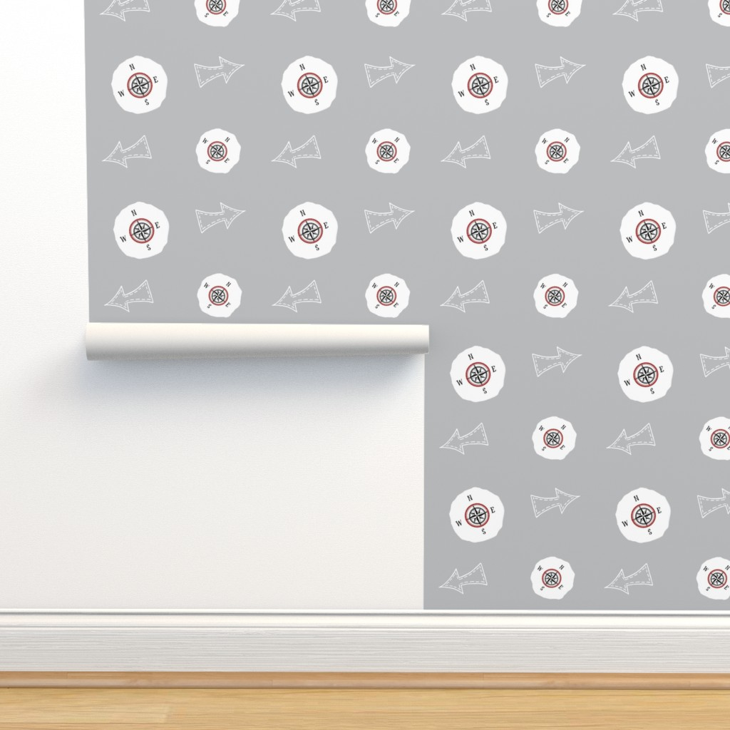 Isobar Durable Wallpaper featuring  compass arrow world map 467  - gray by drapestudio