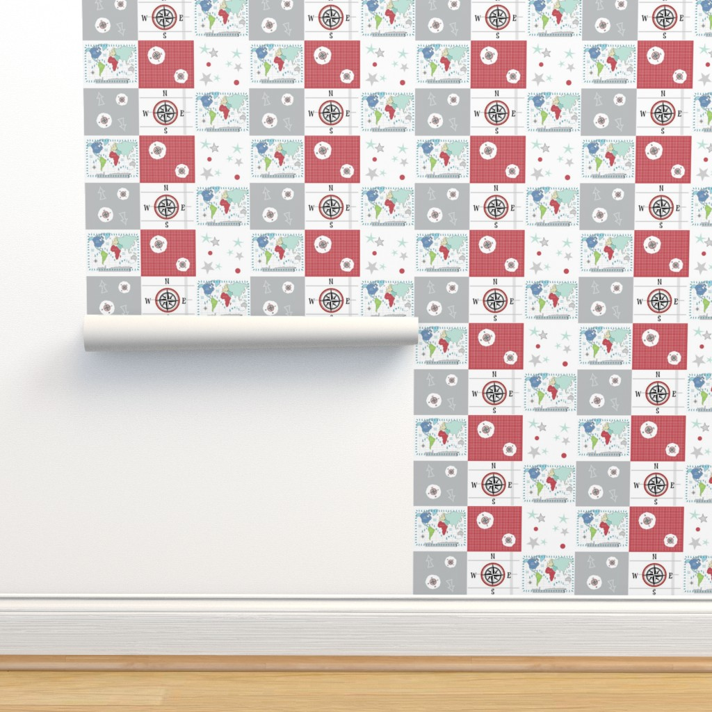 Isobar Durable Wallpaper featuring world map red -42 SMALL 1581  wholecloth quilt by drapestudio