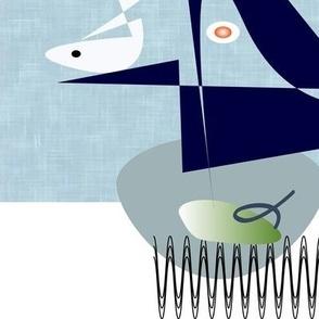 Mid Century Modern Blue Bird fish