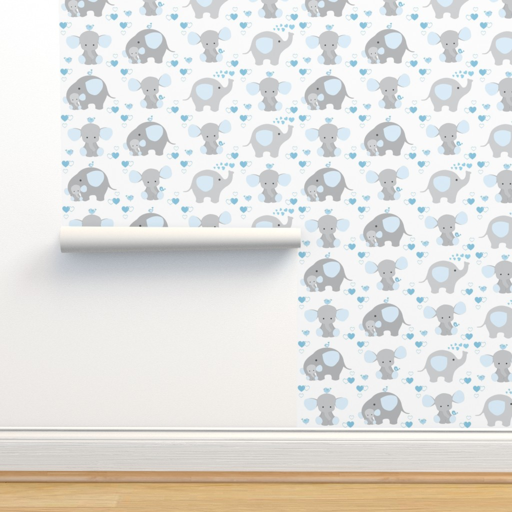 Isobar Durable Wallpaper featuring Elephant Nursery Blue Boy by decamp_studios