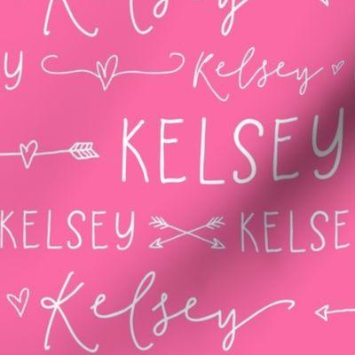 Baby Girl Personalised Name BUNTING Luxury DESIGNER Vintage Fabric Pink Green