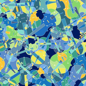 scattered violins, violas, cellos in blue, green and yellow (version 1)