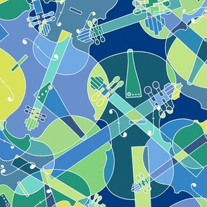 Scattered violins, violas, cellos in blue and green