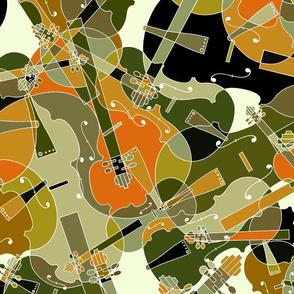 scattered violins, violas, cellos in brown, olive and black