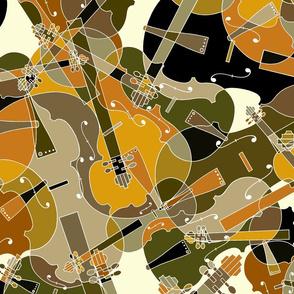 scattered violins, violas, cellos in brown, beige, olive and black