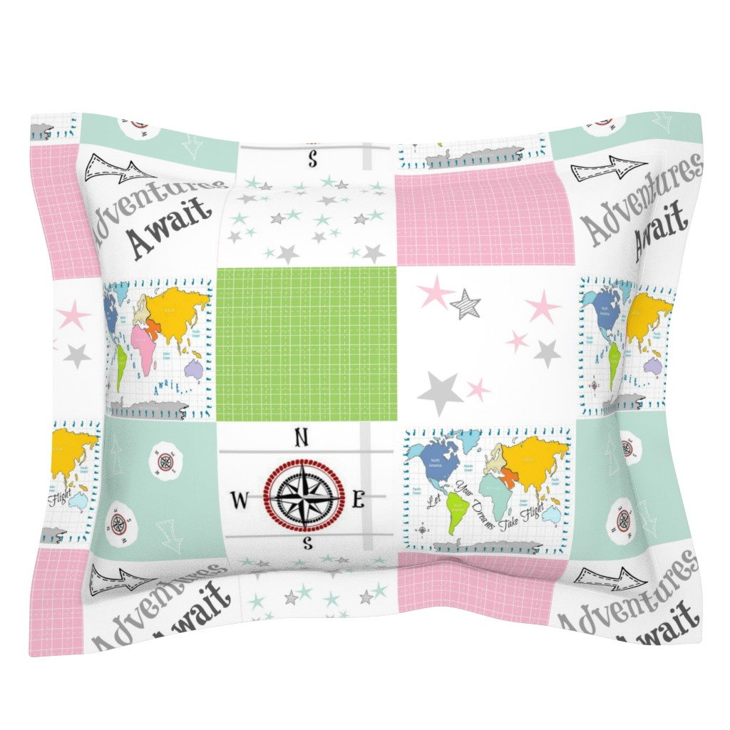 Sebright Pillow Sham featuring Adventures Await 42- gray pink - wholecloth quilt by drapestudio
