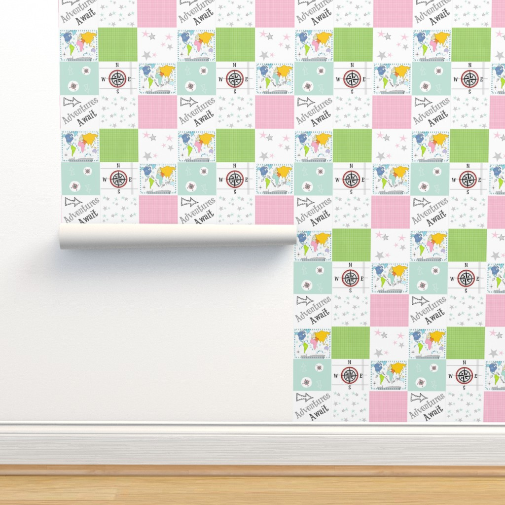 Isobar Durable Wallpaper featuring Adventures Await 42- gray pink - wholecloth quilt by drapestudio