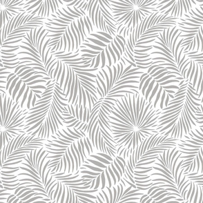 palm leaves - white  grey - tropical design for beach and swim