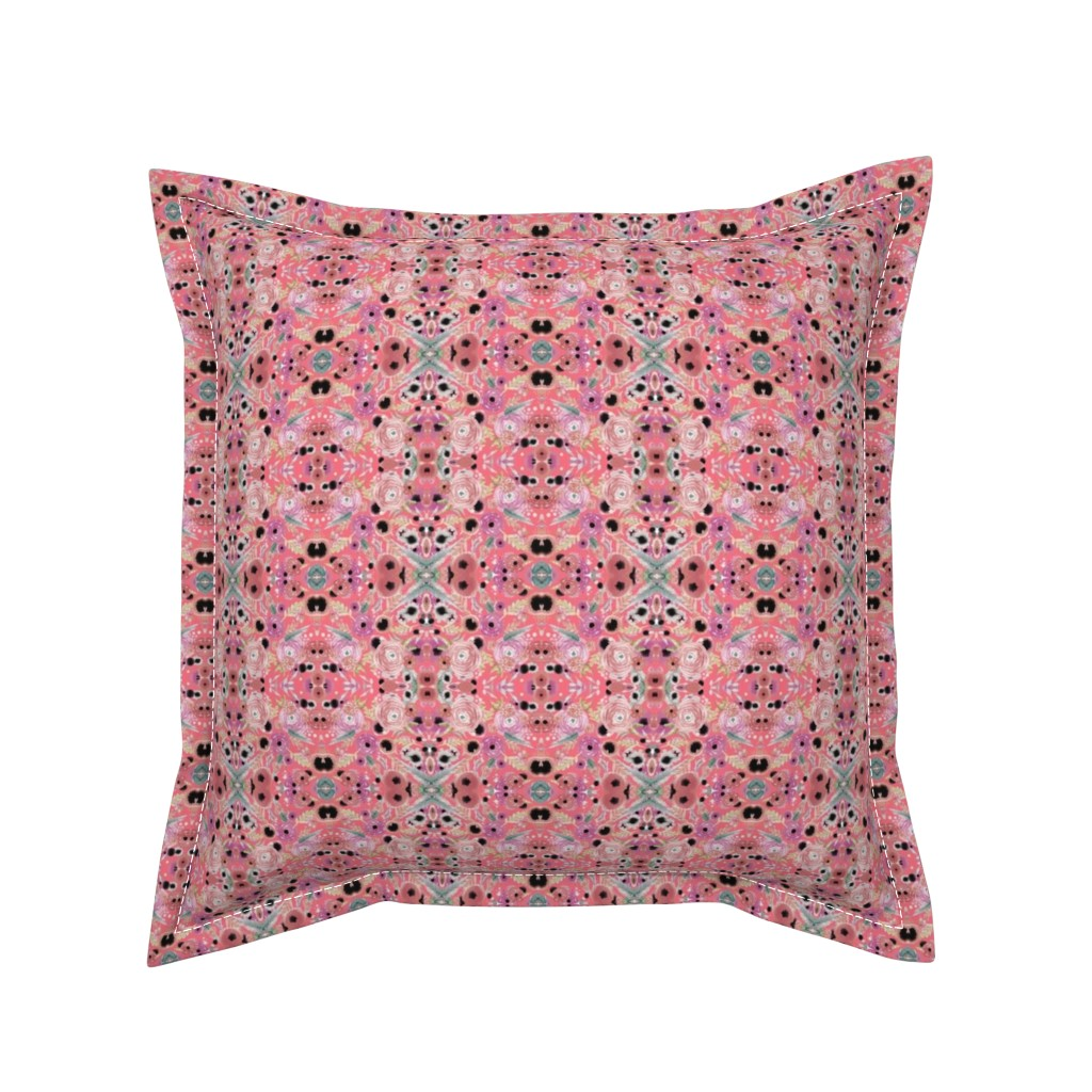 Serama Throw Pillow featuring dusty pink floral watercolor by artgirlangi