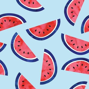 watercolor watermelon on blue - July 4th - red white and blue fabric