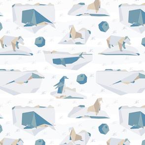 Winter origami Arctic animals