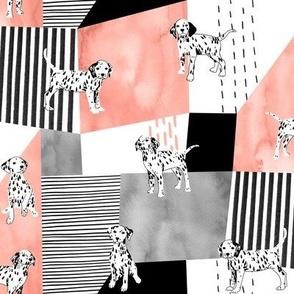 Dalmatians on Geometric Background