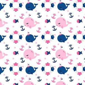 Whales and Anchors Pink