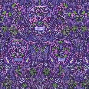 Sugar Skulls Large Purple