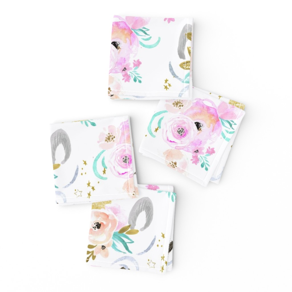 Frizzle Cocktail Napkins featuring unicorn floral by crystal_walen