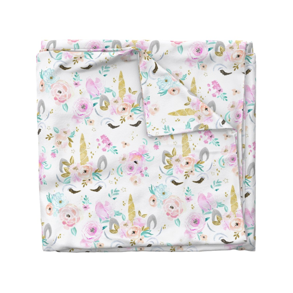 Wyandotte Duvet Cover featuring unicorn floral by crystal_walen
