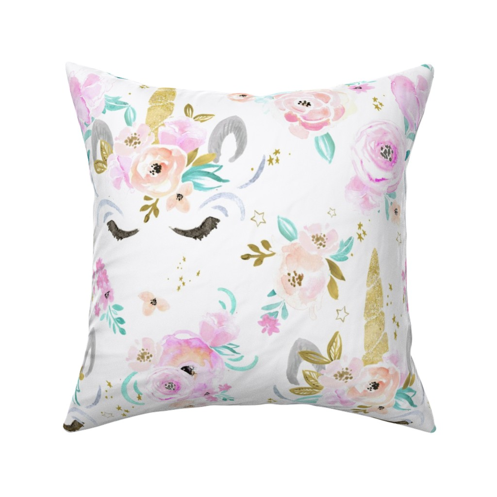 Catalan Throw Pillow featuring unicorn floral by crystal_walen