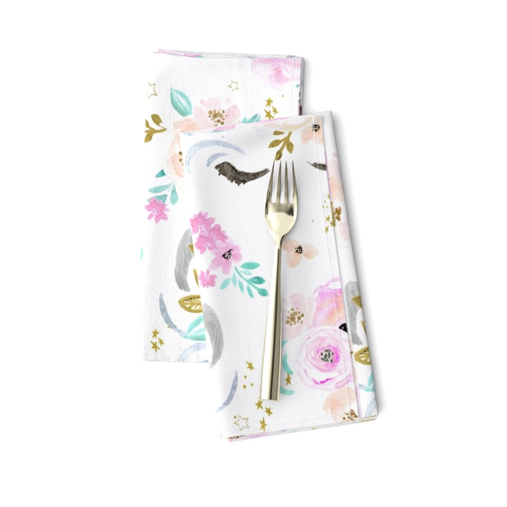 Amarela Dinner Napkins featuring unicorn floral by crystal_walen