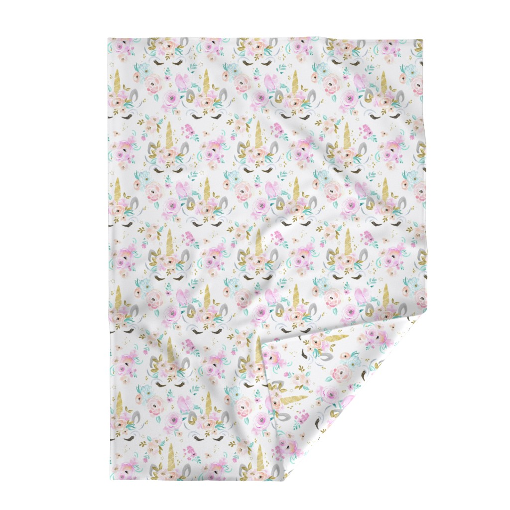 Lakenvelder Throw Blanket featuring unicorn floral by crystal_walen