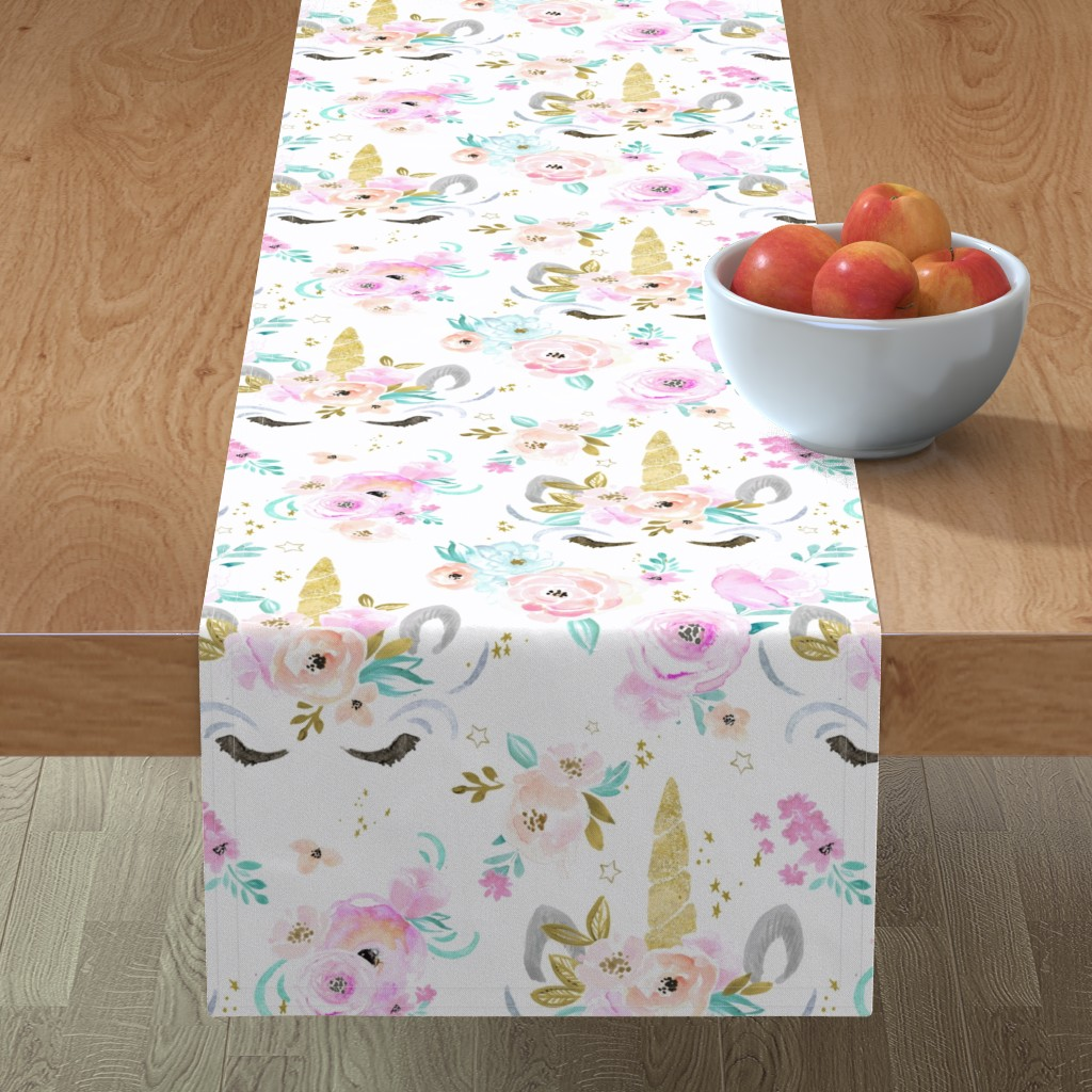Minorca Table Runner featuring unicorn floral by crystal_walen