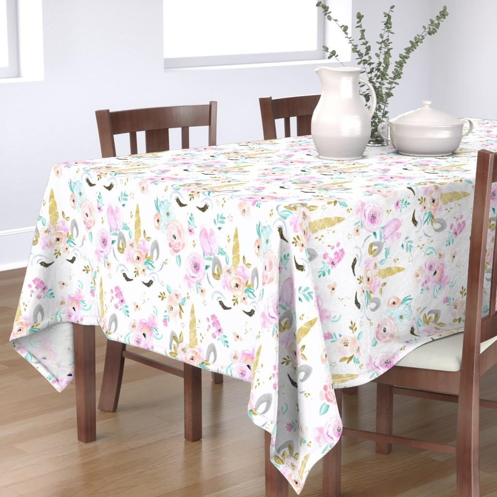 Bantam Rectangular Tablecloth featuring unicorn floral by crystal_walen