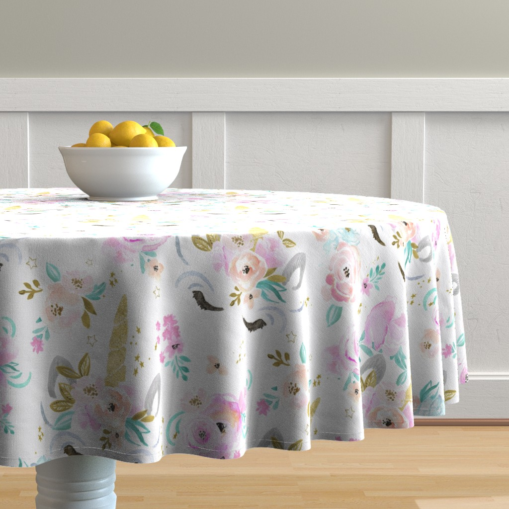 Malay Round Tablecloth featuring unicorn floral by crystal_walen