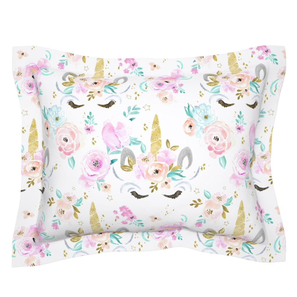 Sebright Pillow Sham featuring unicorn floral by crystal_walen