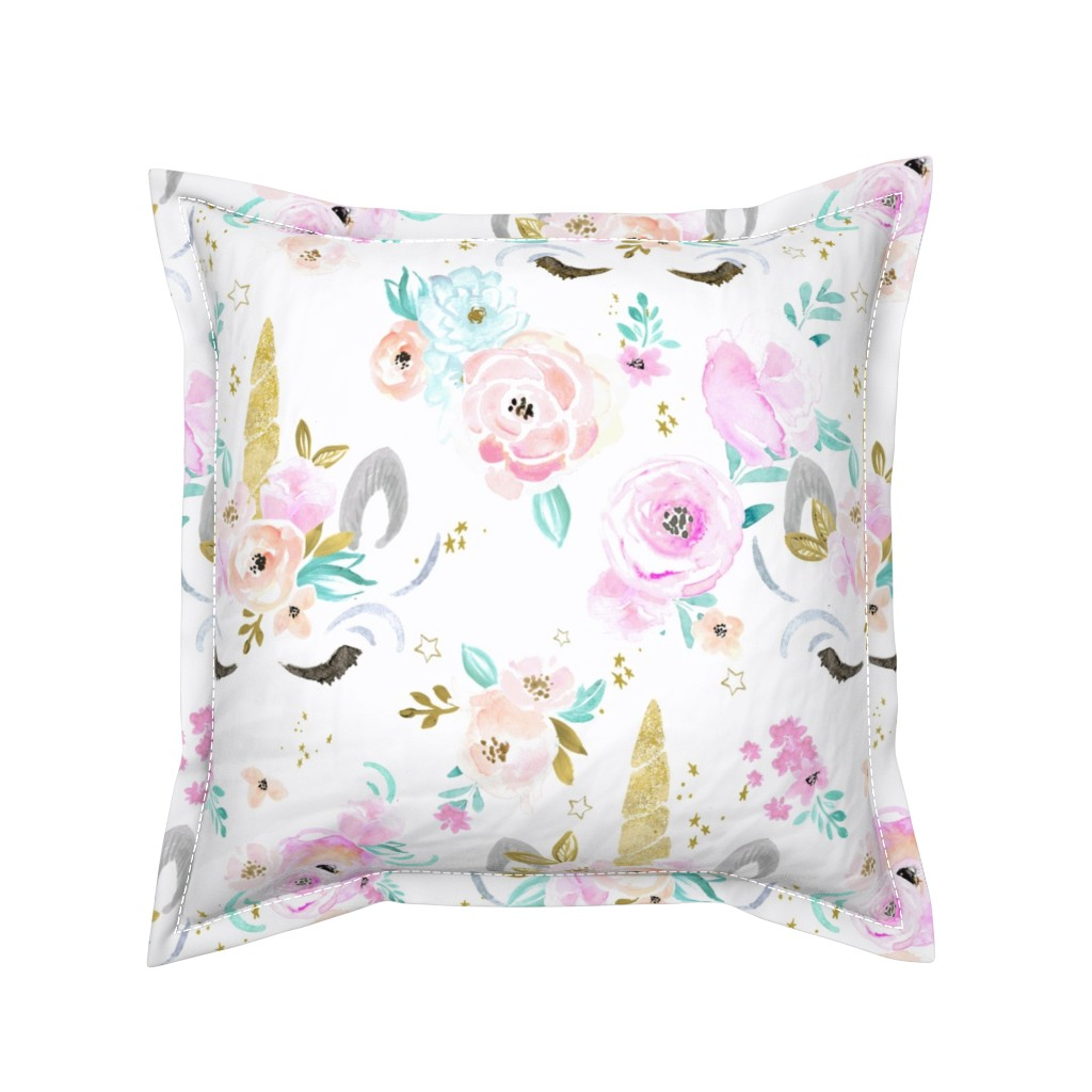 Serama Throw Pillow featuring unicorn floral by crystal_walen