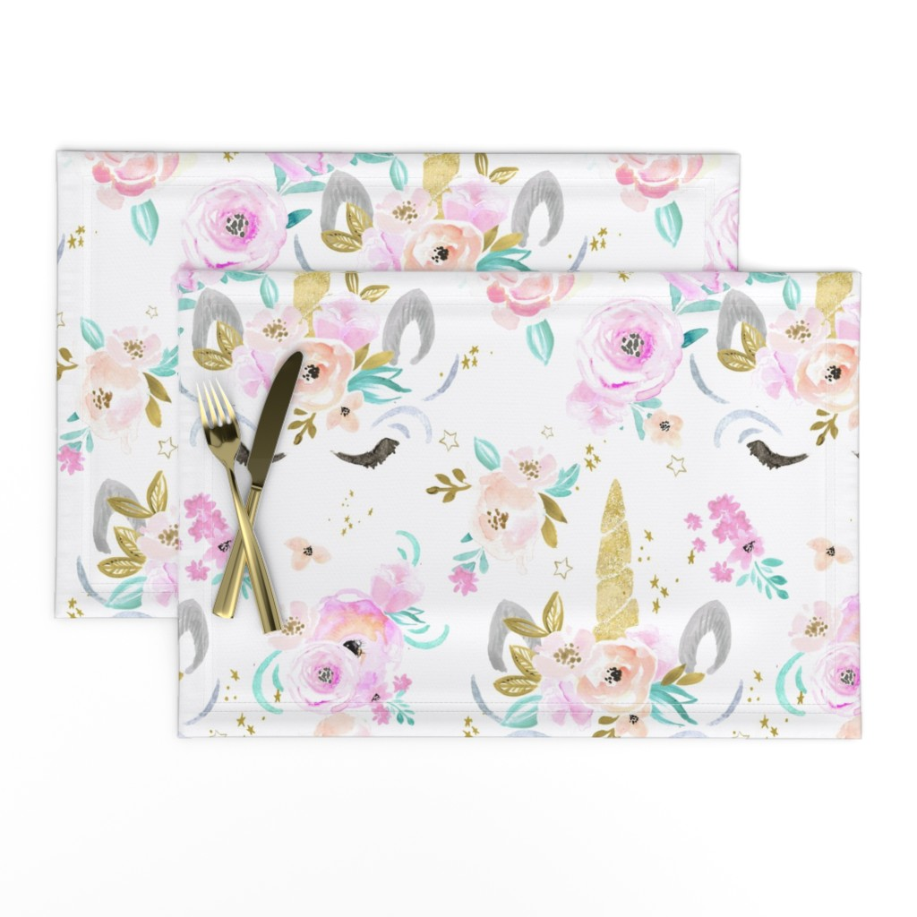 Lamona Cloth Placemats featuring unicorn floral by crystal_walen