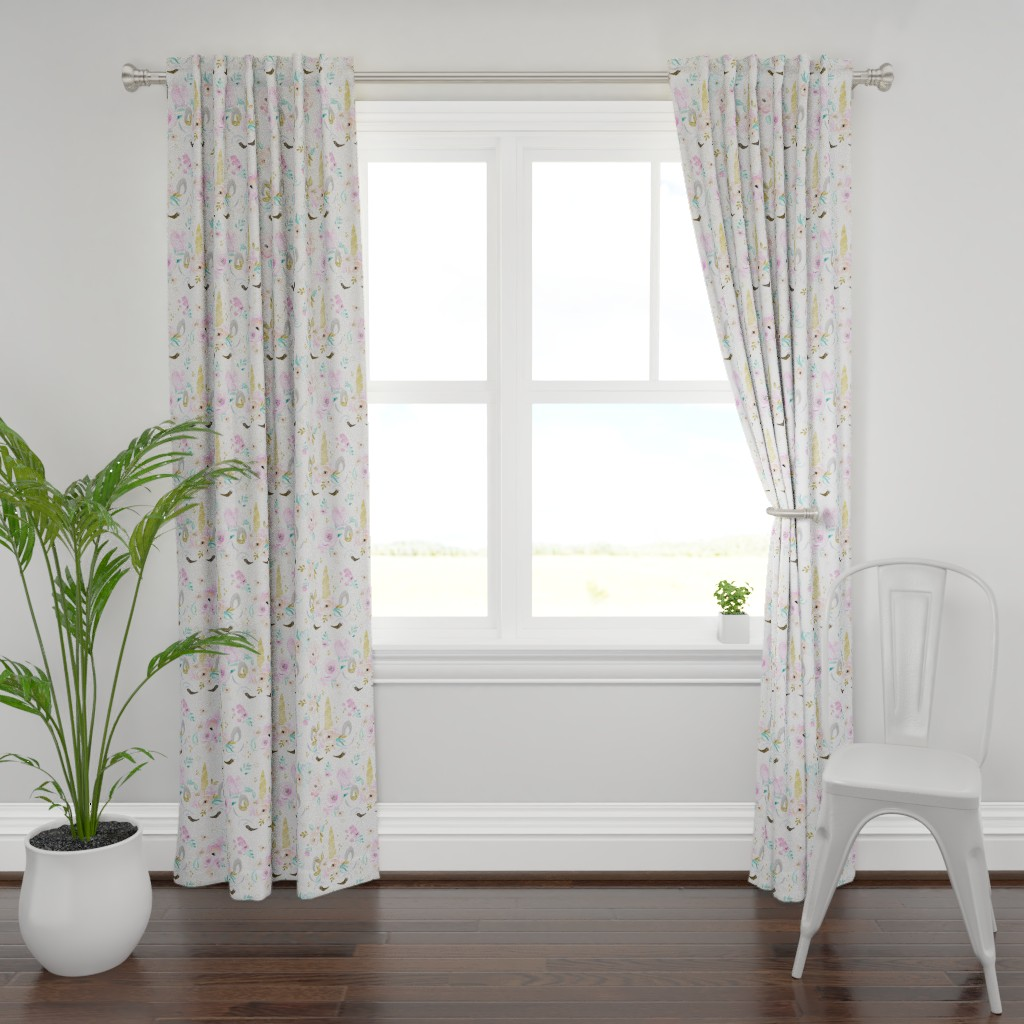 Plymouth Curtain Panel featuring unicorn floral by crystal_walen